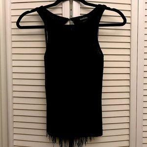 Bebe sleeveless fringe knit top NWT